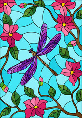Illustration in stained glass style with bright purple dragonfly against the sky, foliage and pink flowers