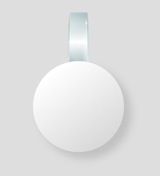 Blank white wobbler hang on wall mock up, 3d rendering. Space round paper mockup on plastic transparent strip. Clear price sticker circle shape. Pricing tag label template isolated.