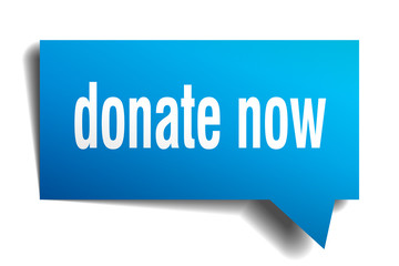 donate now blue 3d speech bubble