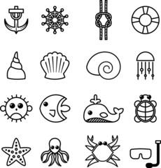 Set icone vita marina, mare, spiaggia