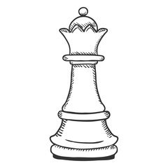 Vector Single Sketch Illustration - Chess Queen Figure