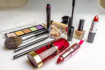 Set of decorative cosmetics, makeup tools and accessory on white background. Professional beauty, fashion and shopping concept.