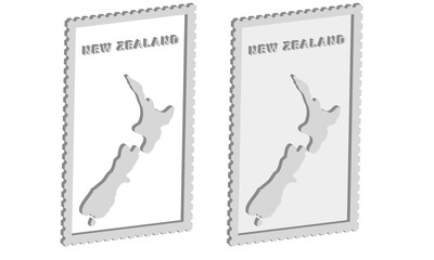 New Zealand 3d map on the postage stamp vector