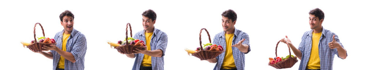Man with basket of fruits and vegetables