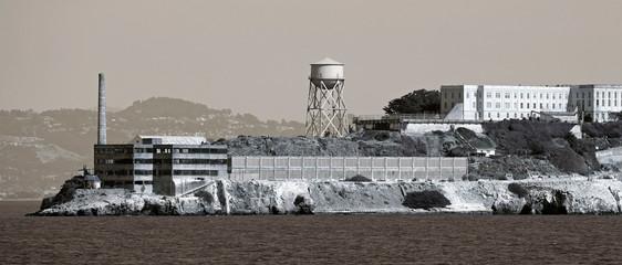 Alcatraz prison near San Francisco, vintage style