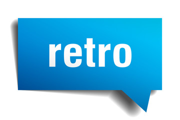 retro blue 3d speech bubble