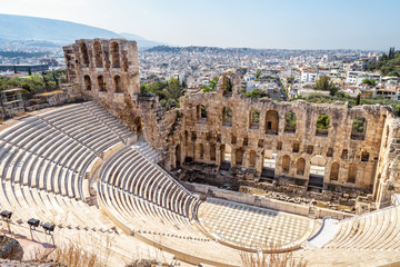 Fototapete - Panoramic view of the Odeon of Herodes Atticus at Acropolis of Athens from above, Greece