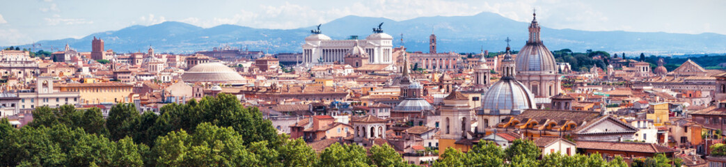 Fototapete - Aerial panoramic view of Rome, Italy