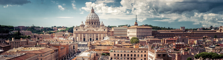 Fototapete - Panoramic view of Rome with St Peter's Basilica in Vatican City, Italy
