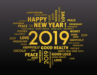 2019 word cloud Greeting card