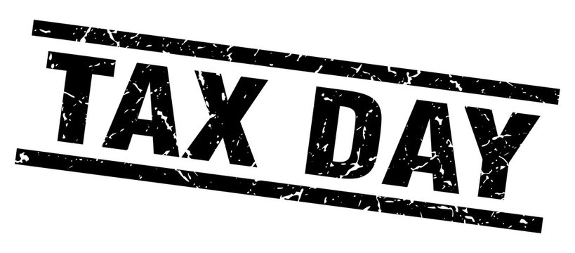 square grunge black tax day stamp