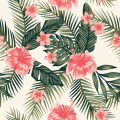 Wall Mural - Hibiscus plumeria leaves seamless background