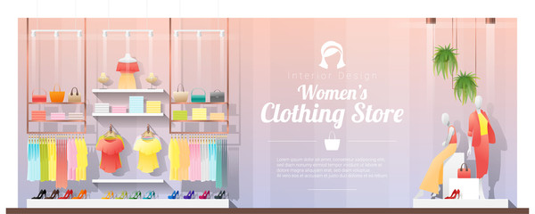 Interior background of modern women clothing store , vector , illustration