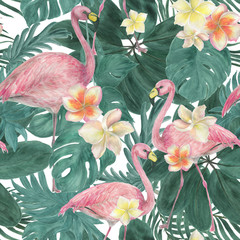 Watercolor painting seamless pattern with tropical leaves and plumeria flowers, flamingo birds