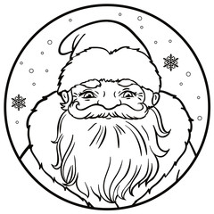 Portrait of Russian Santa Claus. Vector illustration on a round with snowflakes. Icon traditional New Year character. Outlined for coloring book.