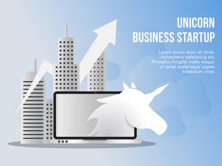 Unicorn business startup concept illustration vector design template