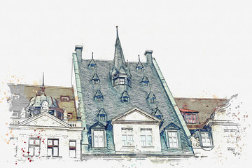 Watercolor sketch or illustration of traditional houses in Leipzig in Germany. Old European architecture.