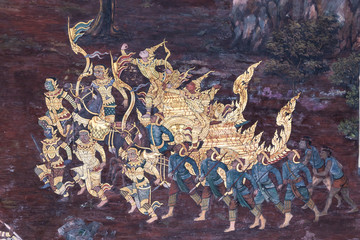 Traditional Thai painting Art wall