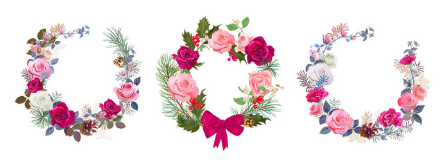 Set of Christmas cards, wreaths of flowers. Round frame with red, pink roses, pine branches, cones, holly berry, carnations. Vintage background, digital draw illustration, templates, vector