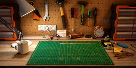 Wooden workbench at workshop. Lot of different tools for diy and repair works.