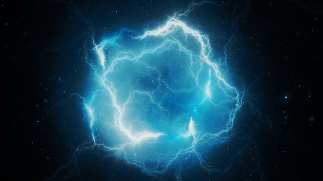 Blue glowing high energy lightning, computer generated abstract background,