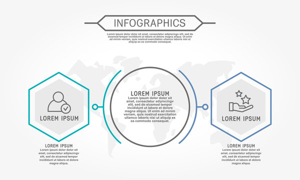 Modern vector illustration 3d. Template of circular infographics with two elements, hexagon. Contains map in the center. Designed for business, presentations, web design, diagrams with 2 steps