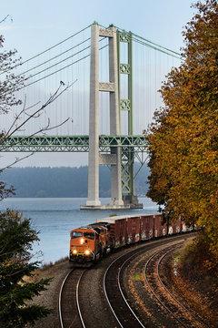 Traveling down the tracks in Tacoma, Washington; train
