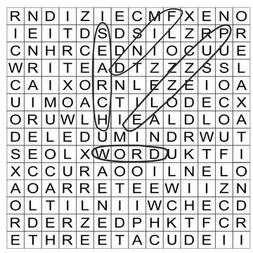 Vector illustration of a word search puzzle grid part completed with circled words