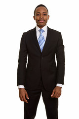 Young African businessman isolated against white background