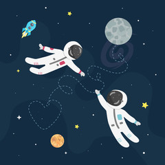Space love vector illustration. Boy astronaut and girl astro naut fly to each other