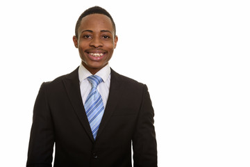 Young happy African businessman smiling isolated against white background