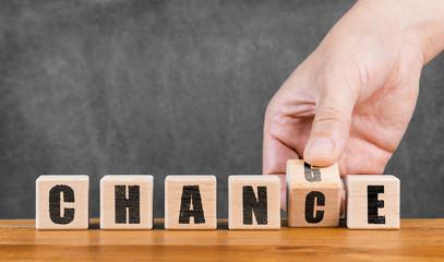 use chance and change concept - Die Chance nutzen und sich verändern