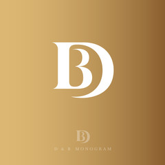 Obraz D and B letters. Monogram consist of white letters, isolated on a gold background. The vintage style. - fototapety do salonu