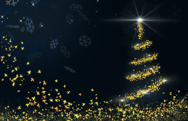 Christmas postcard with abstract background and pine shaped with leaves, snow particles and bright lights