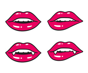 Sexy lips illustration set