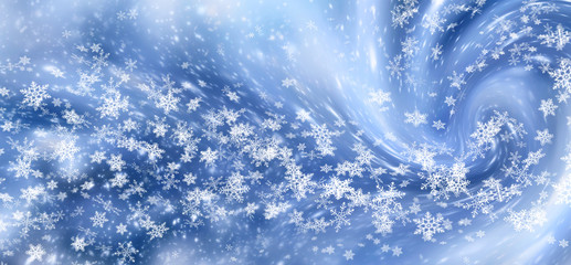 Christmas background with snowfall and snowflakes