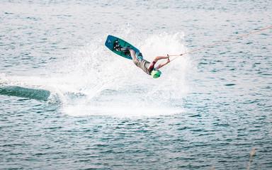 Wakeboarder flip trick