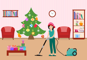 Girl cleans, decorates room for Christmas New Year