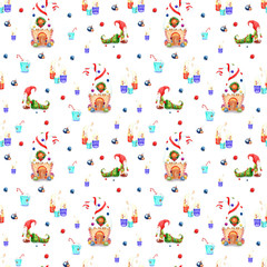 watercolor drawings, christmas illustrations, seamless pattern. sketch