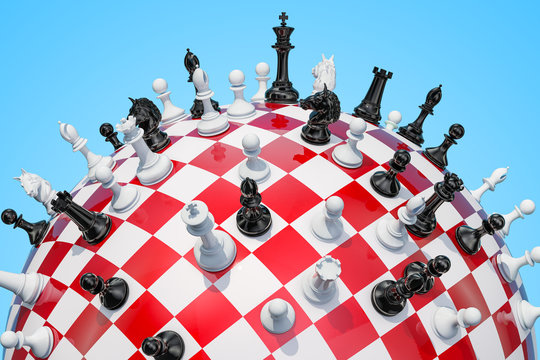 Checkered sphere, chess board with chess pieces. 3D rendering