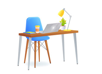 Office chair with table and laptop and a coffee cup beside books and lamp and pretty plant. Modern furniture for workplace
