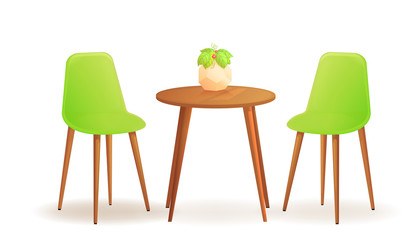 Two chairs with and drink cup on wood table. Cafe for meet and talk. Modern furniture for interior house or shop.