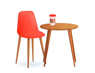 Chair with and drink cup on wood table. Cafe for meet and talk. Modern furniture for house or shop.