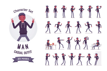 Young black man ready-to-use character set