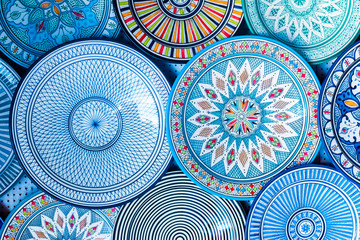 Fotorolgordijn Marokko Beautiful colorful and traditional dish plates, Morocco in Africa