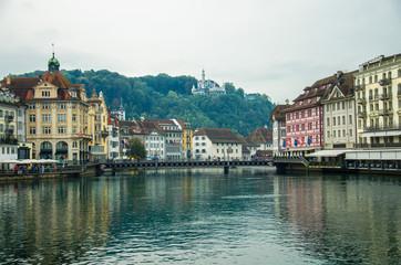 Reuss river from wooden Chapel Bridge, Luzern, Switzerland