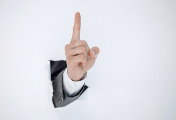 businessman hand showing a gesture of warning