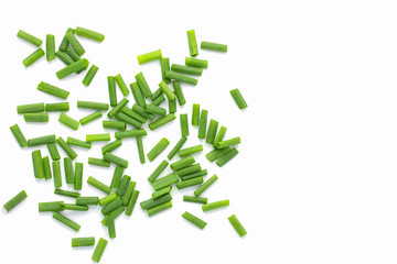 Fototapeta Heap of chopped spring onions isolated on white background with copy space obraz