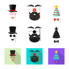 Isolated object of party and birthday logo. Set of party and celebration vector icon for stock.