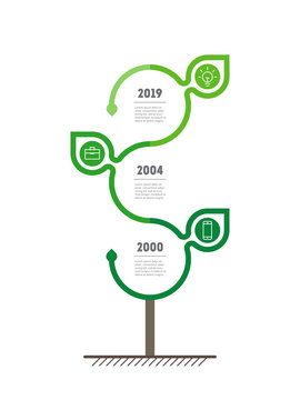 Vertical Timeline infographics with leaves. The development and growth of the eco business. Time line of Social tendencies and trends graph. Business concept with 3 options, parts, steps or processes.